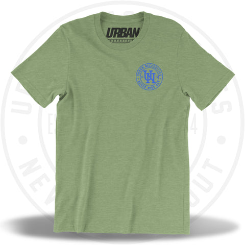 UN Stamp Tee Heather Green/Blue-Urban Necessities