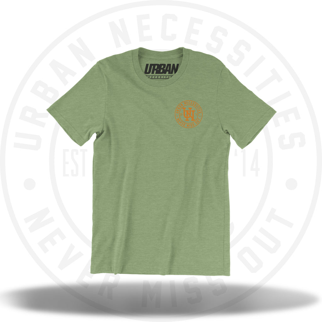 UN Stamp Tee Heather Green/Orange-Urban Necessities