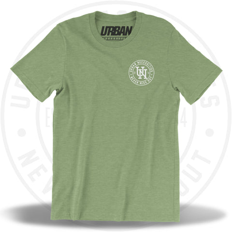 UN Stamp Tee Heather Green/White-Urban Necessities