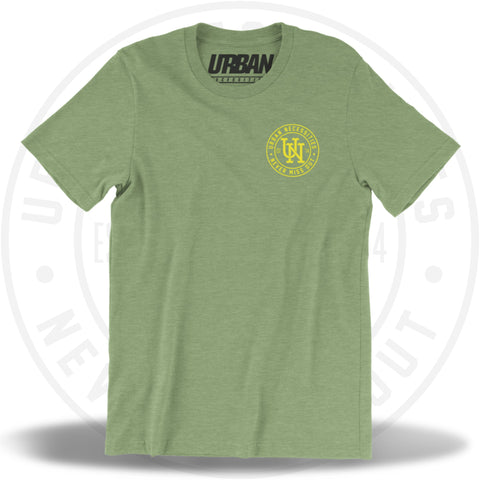 UN Stamp Tee Heather Green/Yellow-Urban Necessities