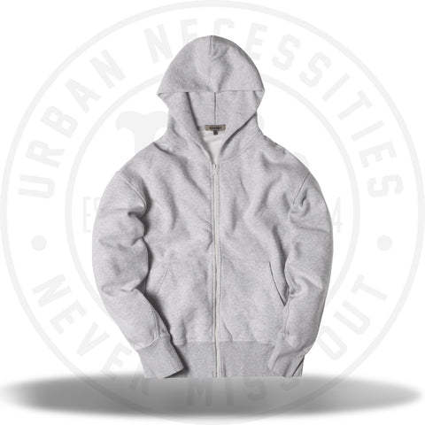 Yeezy Boxy Fit Zip-Up Hoodie Melange Grey-Urban Necessities