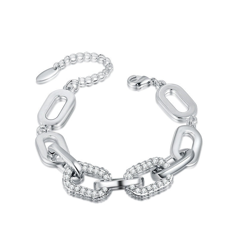 Fashion Bracelet - Inaya White Gold Plated Chain Bracelet With Shining Cubic Zircon Crystals