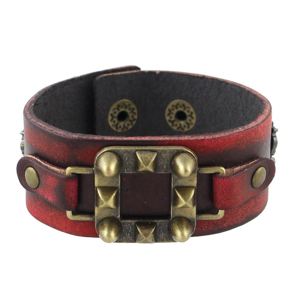 Fashion Bracelet - Nare Rock Style Red Leather Unisex Bracelet