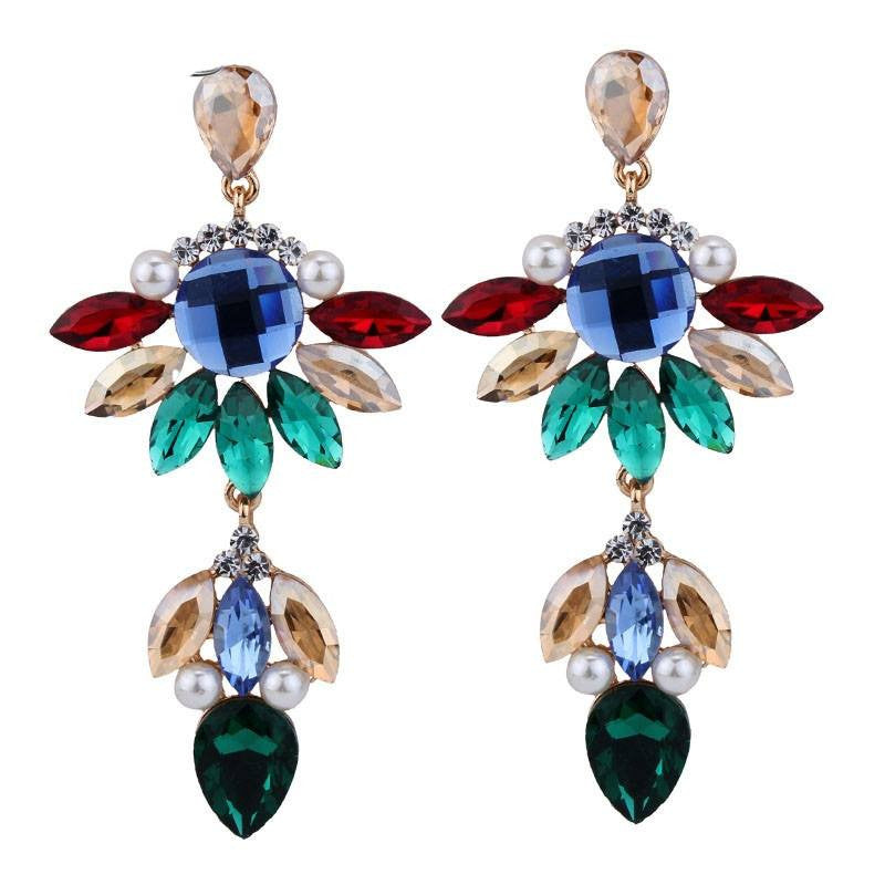 Fashion Drop Earrings - Anna Flower Gems Dangle Earrings With Simulated Pearls
