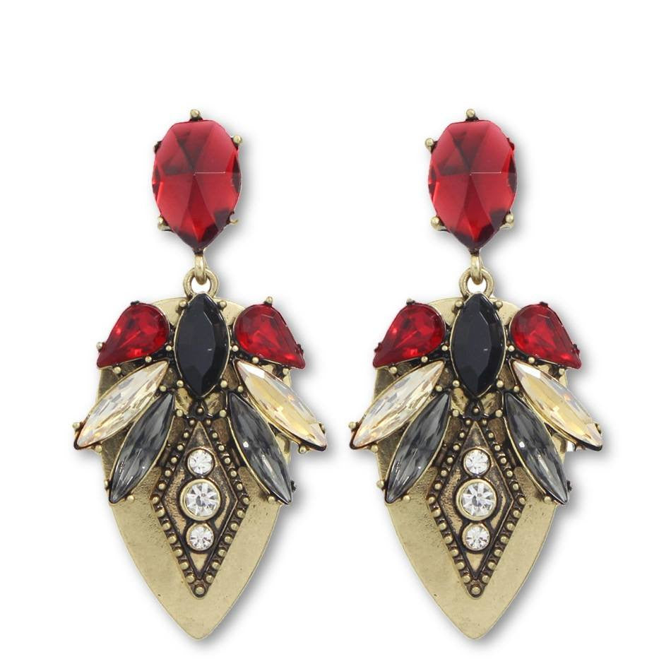 Fashion Drop Earrings - Anne - Retro Style Antique Drop Earrings With Rhinestone