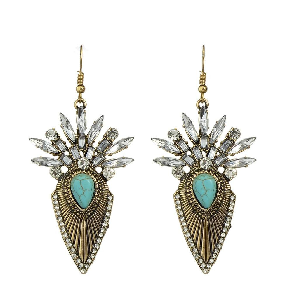Fashion Drop Earrings - Battiah - Gold Silver Color Drop Earrings In Antique Style With Rhinestones