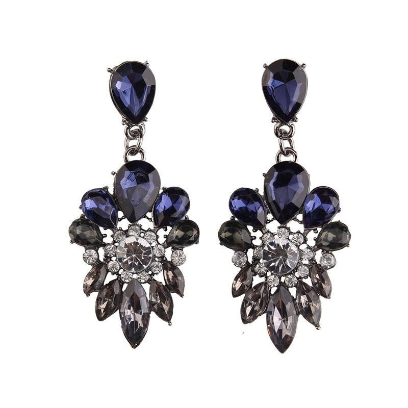 Fashion Drop Earrings - Brooke Luxury Flower Resin Beads & Rhinestones Earrings