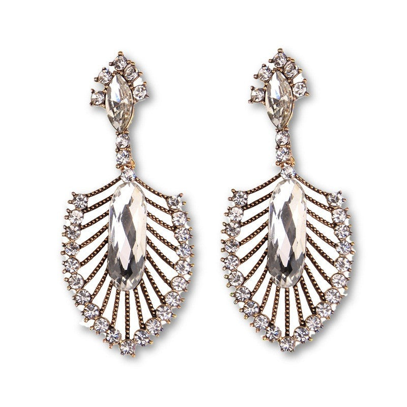 Fashion Drop Earrings - Delaney Shovel-Shaped Rhinestone Earrings With Big Crystal Bead