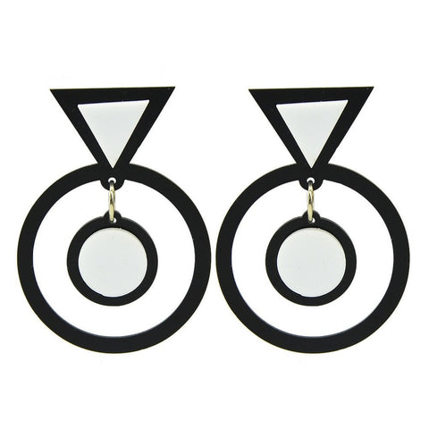 Fashion Drop Earrings - Faina - Drop Earrings With Geometric Triangle Round Design