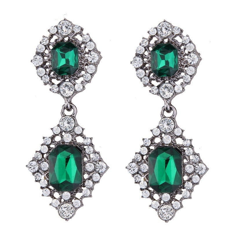 Fashion Drop Earrings - Harley Luxury Rhinestone Dangle Earrings With Green Gem Beads Accent