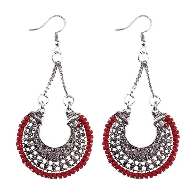 Fashion Drop Earrings - Heather Bohemian Gypsy Maxi Moon Shape Earrings