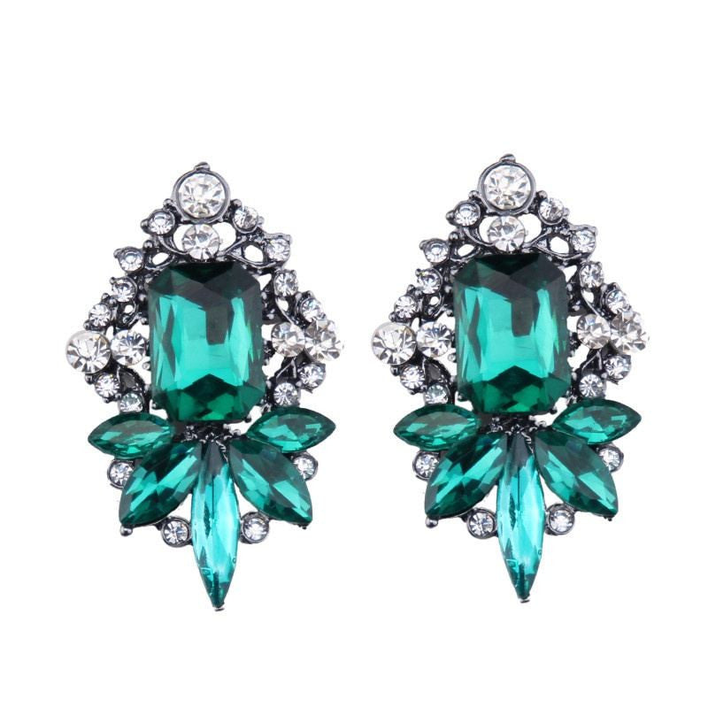 Fashion Drop Earrings - Henley Elegant Big Crystal Gem Earrings With Rhinestones