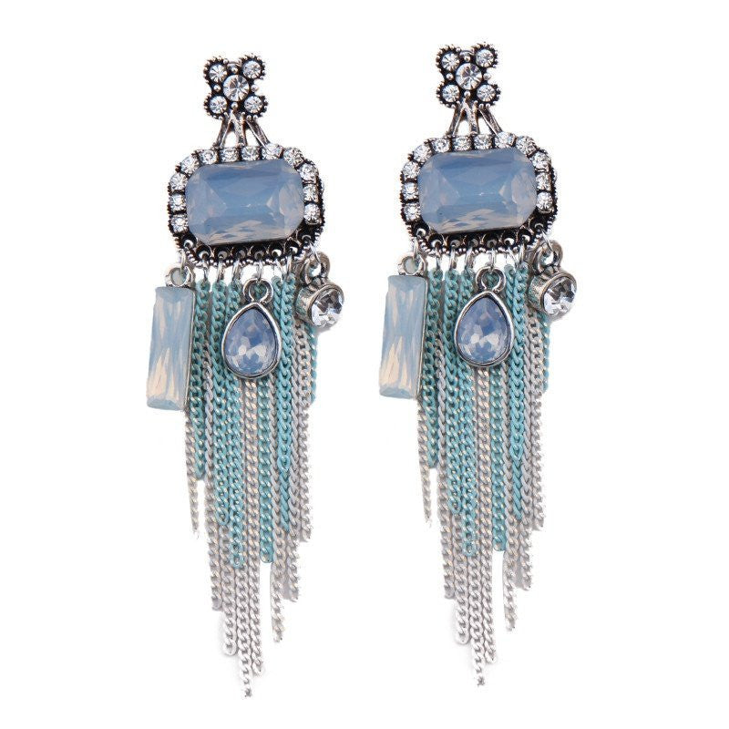 Fashion Drop Earrings - Jana Trendy Chain Tassel Dangle Earrings With Crystal Accents