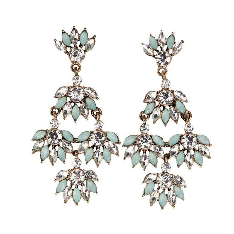 Fashion Drop Earrings - Kamryn Green Beads & Rhinestones Flower Statement Earrings