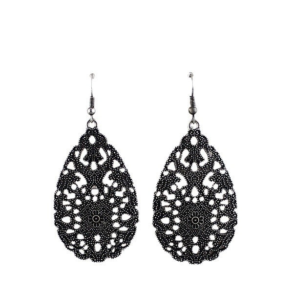 Fashion Drop Earrings - Karlee Vintage Water Drop Style Black Earrings With Flower Design