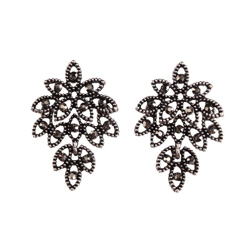 Fashion Drop Earrings - Kensley Vintage Metal Flower Rhinestone Earrings