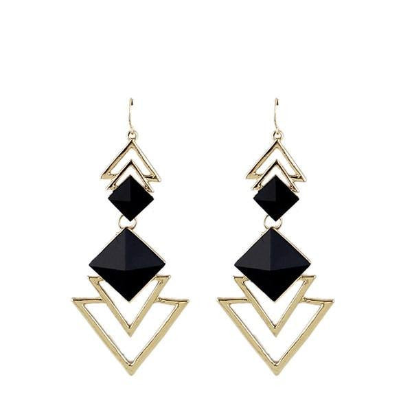 Fashion Drop Earrings - Lilit Fashion Earrings With Geometric Triangle Design