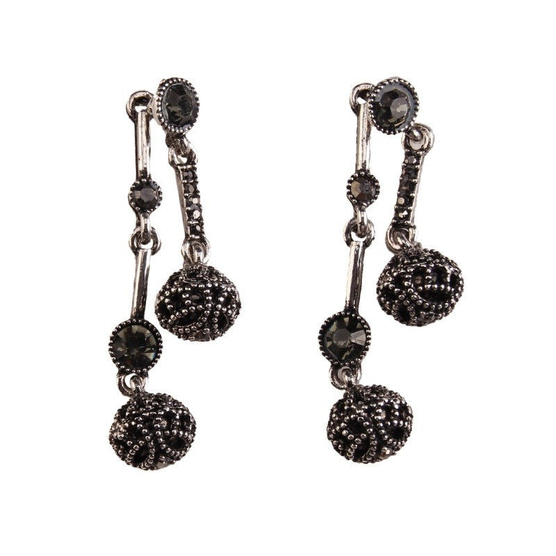 Fashion Drop Earrings - Maryam Vintage Black Metal Rhinestone Dangle Earrings