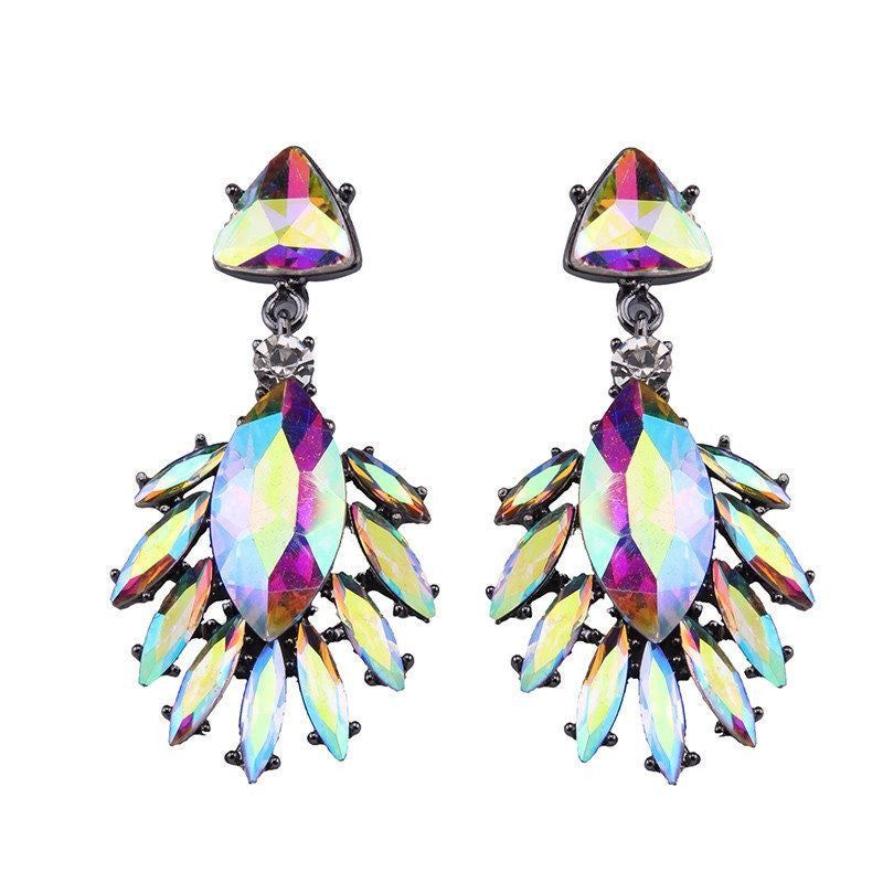 Fashion Drop Earrings - Melanie Leaf Gem Design Acrylic Beads Earrings