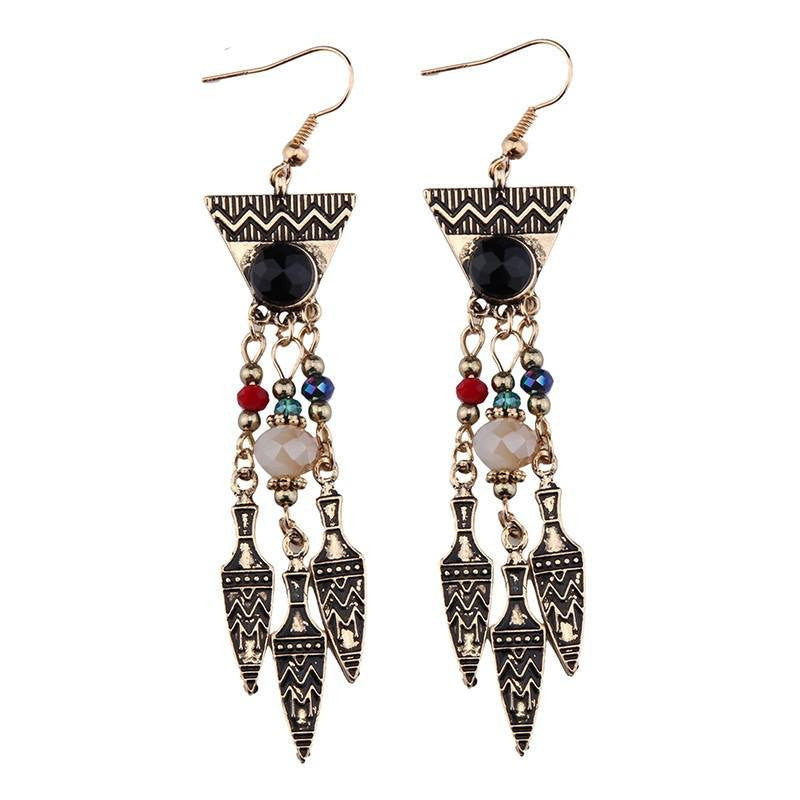 Fashion Drop Earrings - Misapeth Egyptian-Inspired Earrings With Carved Gold-Plated Accents