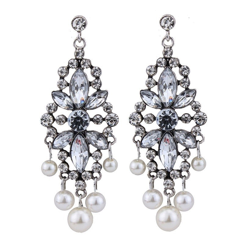 Fashion Drop Earrings - Petra Vintage Flower Crystal Earrings With Simulated Pearls