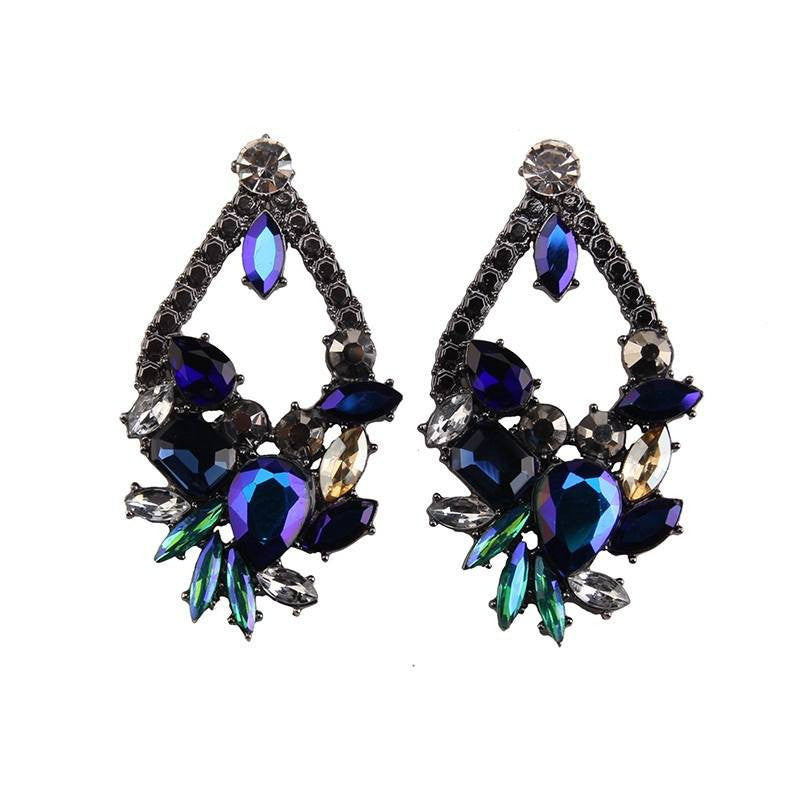 Fashion Drop Earrings - Quinley Luxury Drop Earrings With Flower Crystal Cluster