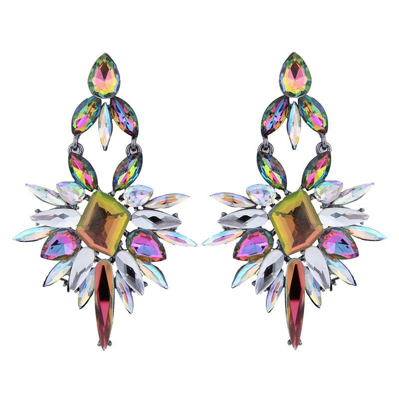 Fashion Drop Earrings - Sophie Shining Crystal Starburst Dangle Earrings