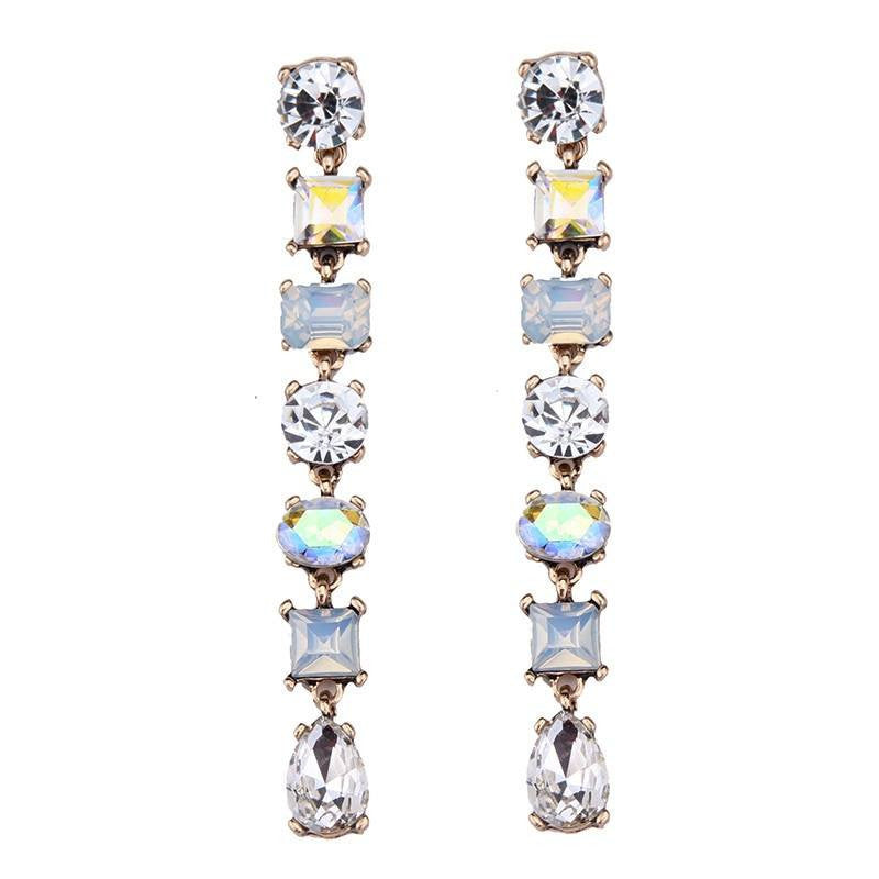 Fashion Drop Earrings - Tenley Crystal Beads & Rhinestones Link Dangle Earrings