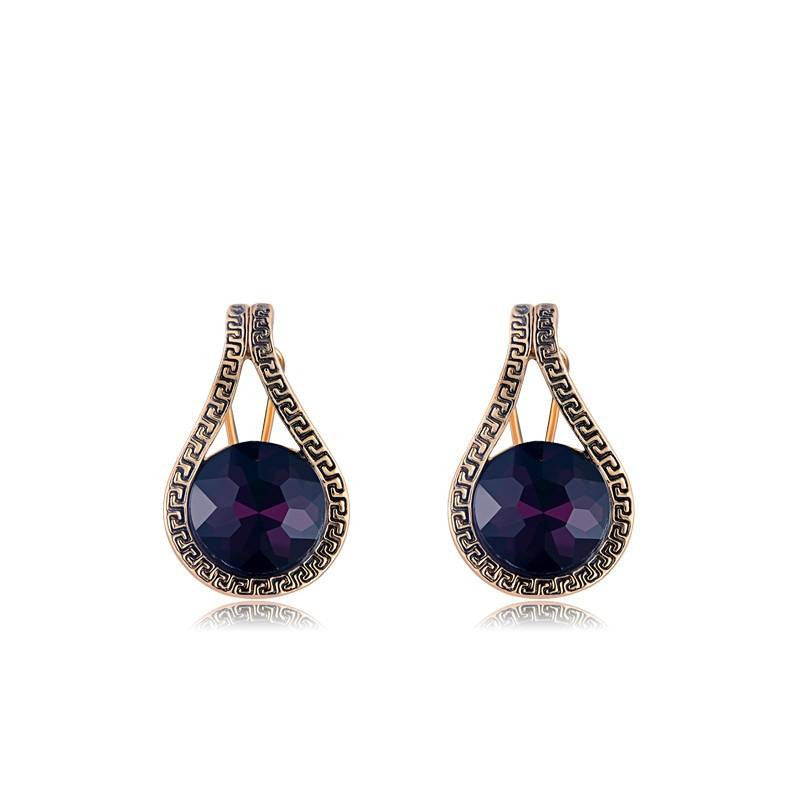 Fashion Drop Earrings - Tinley Vintage Platinum Gold Earrings With Purple Crystal