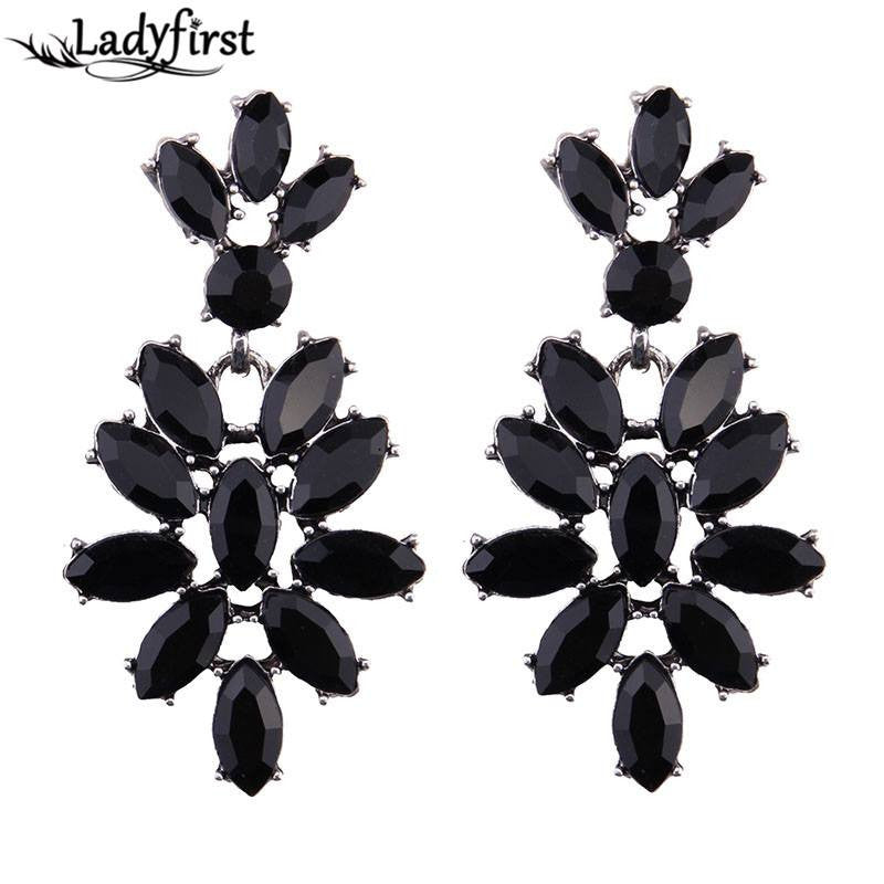 Fashion Drop Earrings - Whitney Classic Crystal Gemstones Flower Drop Earrings