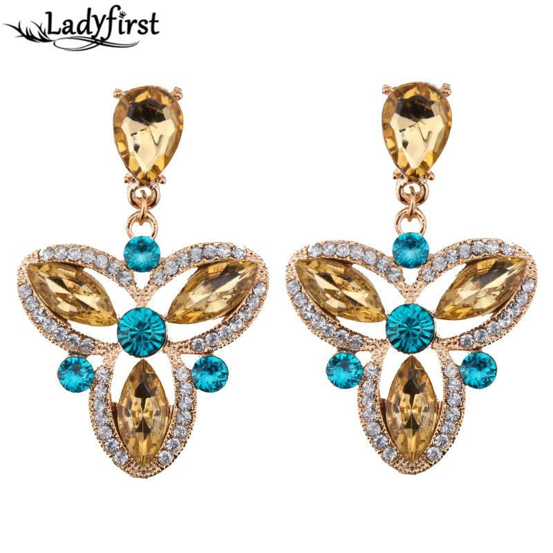 Fashion Drop Earrings - Willow Clover Shaped Earrings With Gold Crystal Gems & Blue Rhinestones