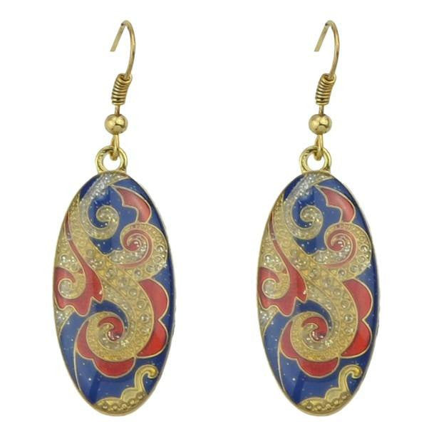 Fashion Drop Earrings - Xaria Retro Enamel Oval Dangle Earrings With Carved Flower & Rhinestones