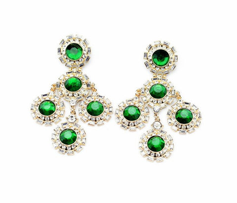 Fashion Earrings - Abelie Elegant Green Crystal Earrings With Rhinestones Inlay