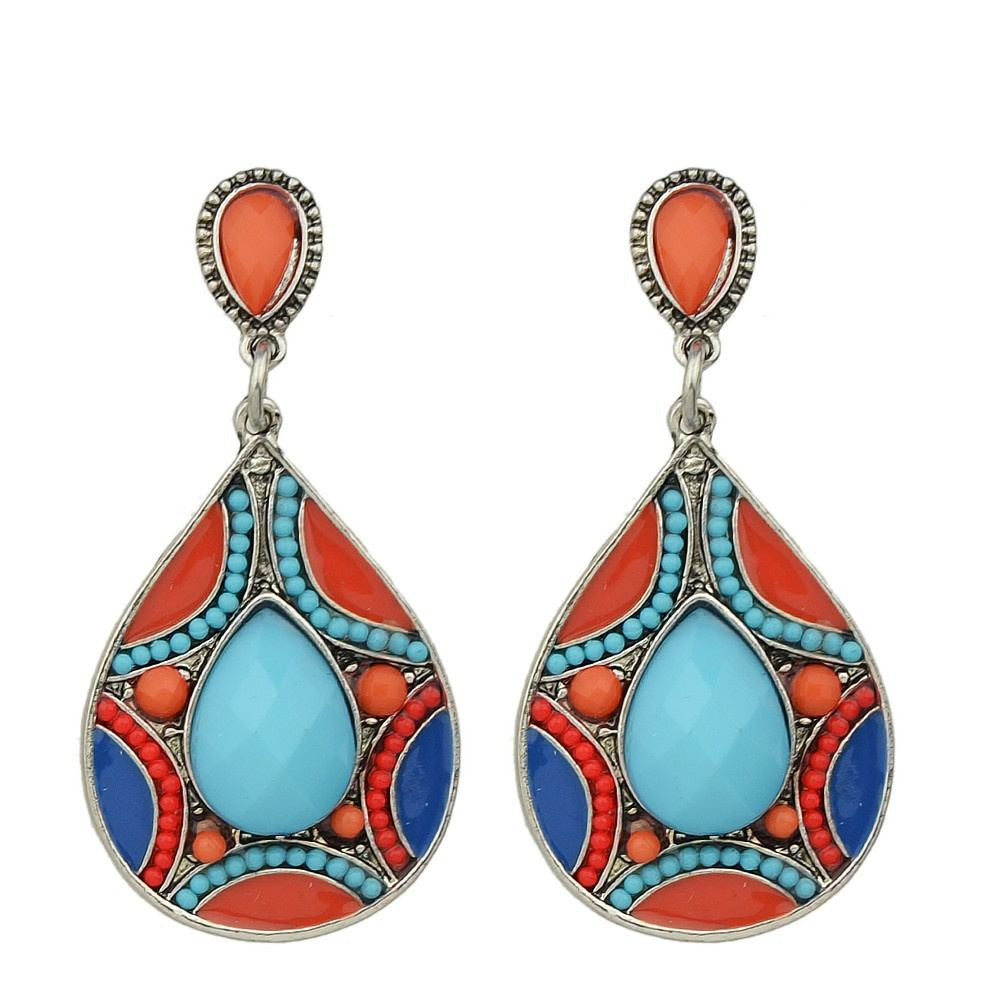 Fashion Earrings - Pam Bohemian Enamel Teardrop Design Earrings With Colorful Beads