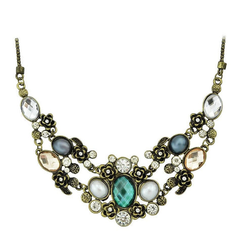 Fashion Necklace - Alexandria Retro Bronze Chain With Colorful Rhinestone Necklace