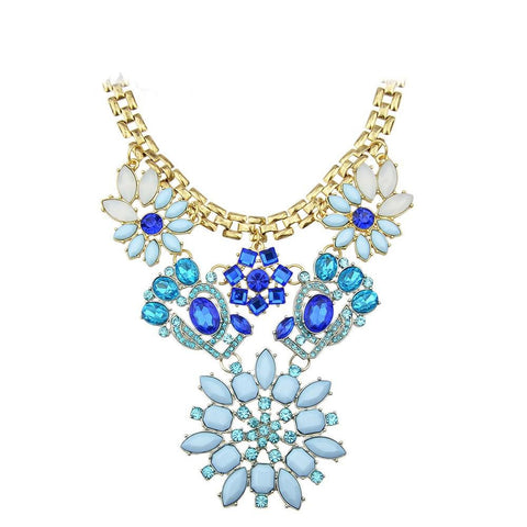 Fashion Necklace - Chris Gold Chain With Blue Gemstone Necklace