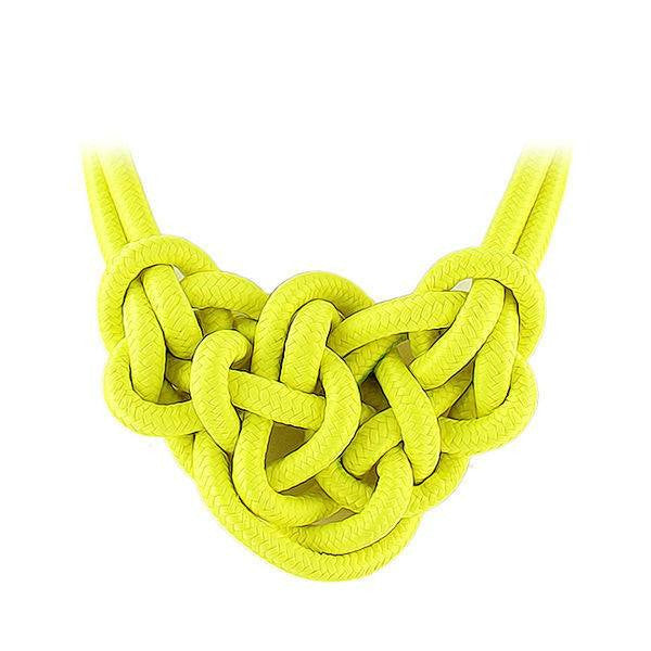 Fashion Necklace - Gala - Yellow Knitted Neon Necklace