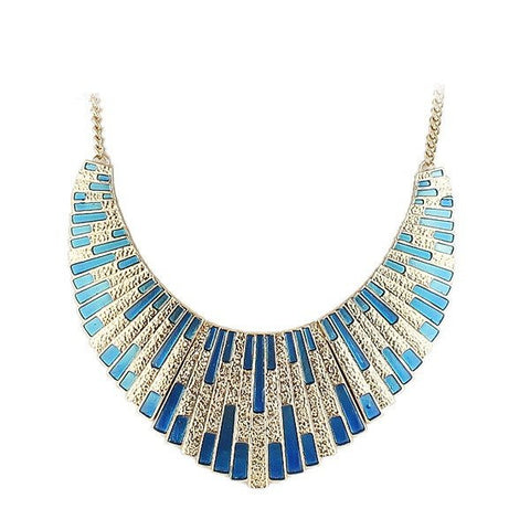 Fashion Necklace - Niona Silver And Blue Geometric Necklace