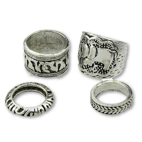 Fashion Ring - Calista Antique Silver With Tibetan Design Fashion Rings Set