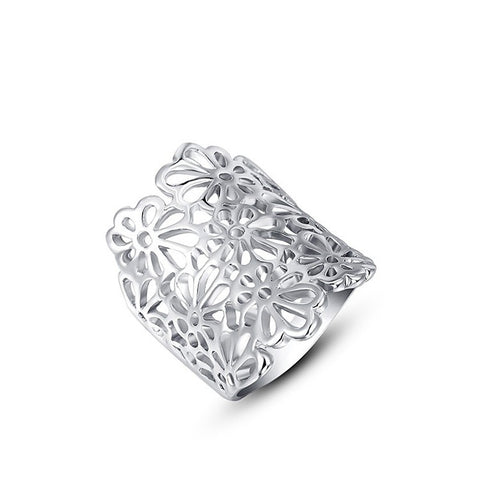 Fashion Ring - Chia Romantic White Gold Plated Flower Design Ring