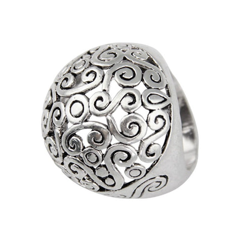 Fashion Ring - Elin Unisex Silver-Plated Hollow-Out Ring With Filigree Design
