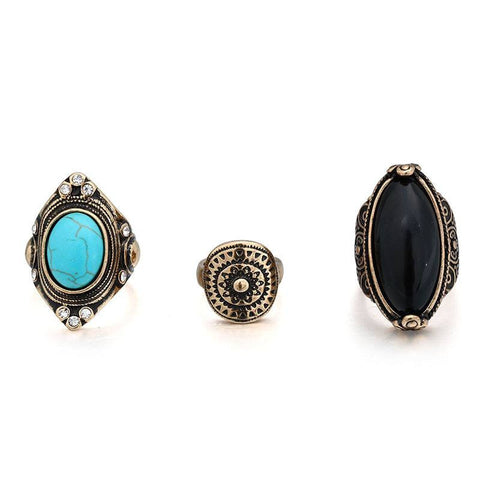 Fashion Ring - Esin Vintage 3-Pc Carved Rings Set With Turquoise & Black Gem