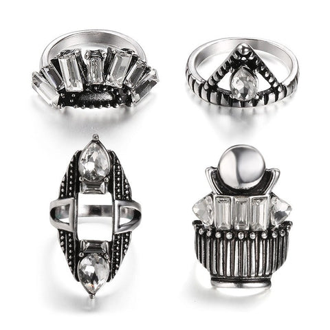 Fashion Ring - Fidan 4-pc Antique Unisex Silver-Plated Punk-Style Ring Set