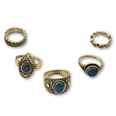 Fashion Ring - Francisca Retro Style Antique Gold Ring Set