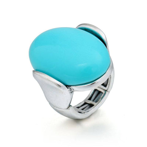 Fashion Ring - Glory Blue Big Oval Resin Stone Silver Ring