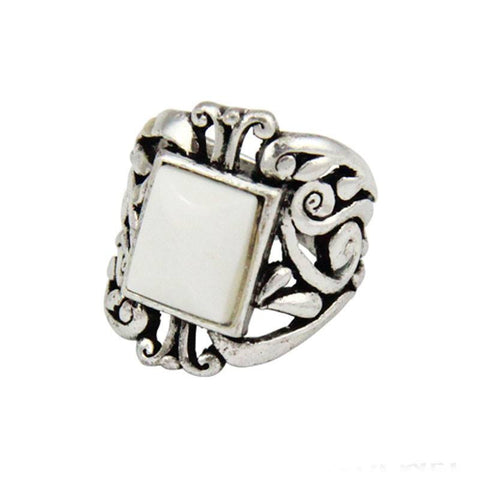 Fashion Ring - Jojo Antique Silver-Plated Chunky White Stone Ring