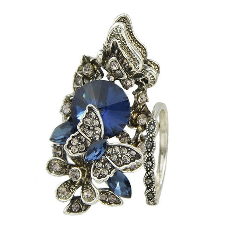 Fashion Ring - Milani Vintage Blue Crystal Ring With Flower & Butterfly Design