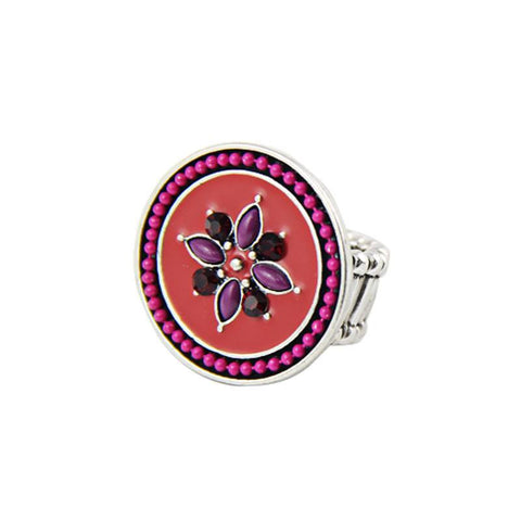 Fashion Ring - Myah Retro Colorful Enamel Ring With Flower Design