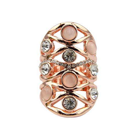 Fashion Ring - Rania Gold-Plated Full Finger Ring With Pink Opal & Rhinestones