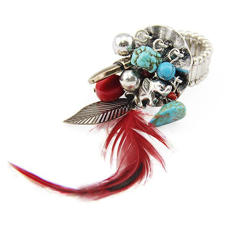 Fashion Ring - Sariah Vintage Silver-Plated Ring With Feather Turquoise Beads Leaf Accent